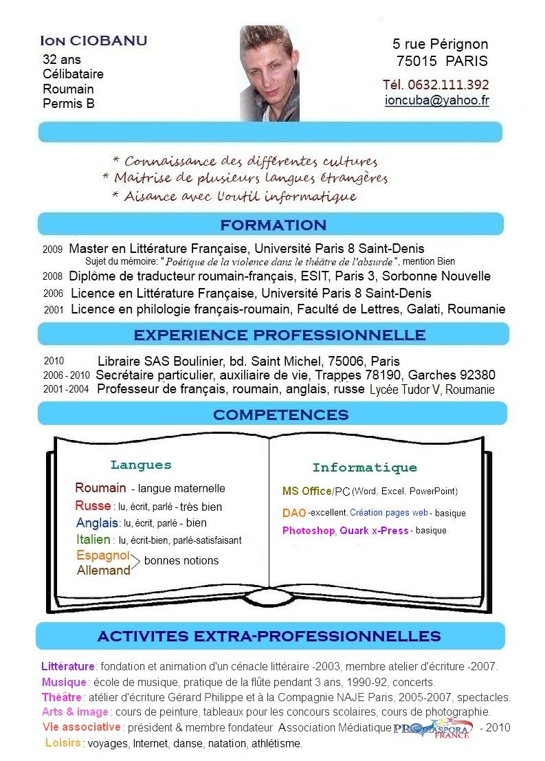 resume format  pr u00e9sentation cv langues
